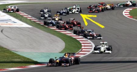 Conforme indicado, a posição de Barrichello no final da reta de largada (ele largou em terceiro)